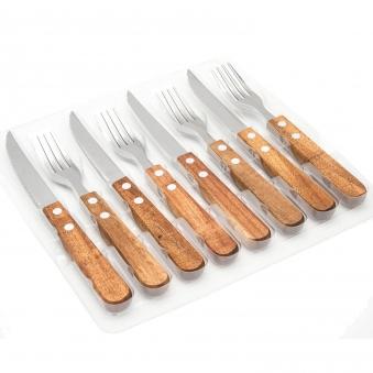 8-tlg. Steakmesser und Gabelset mit Holzgriff Bild 2