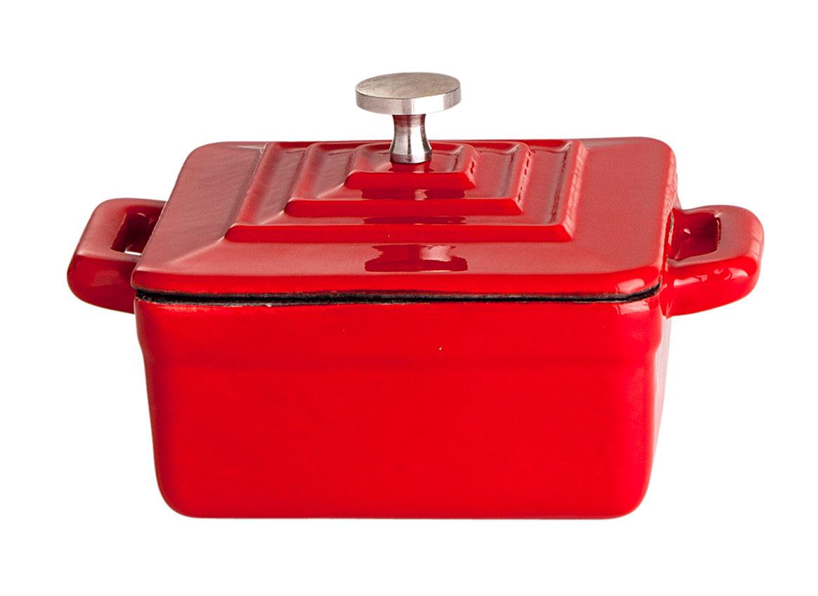 Gusstopf mit Deckel, 9.5 x 9.5 x 4.5 cm, rot/weiß emailliert Bild 1