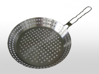 Grillpfanne BBQ Boss Edelstahl gelocht Ø 31 cm Bild 1