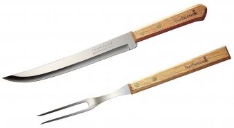 Tranchierset barbecook Messer und Gabel Edelstahl / Holz 33cm Bild 1