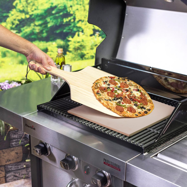 Char-Broil Pizzastein rechteckig 40x35cm + Holzschieber Bild 3