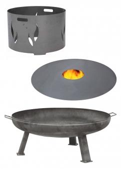 Feuerplatte Grillplatte + Feuerschale + Aufsatz  Set XXL Ø 55cm Set 1 Bild 1