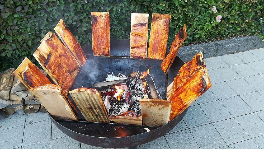 Feuerschale Set 80cm mit Flammlachsbrett Bild 4