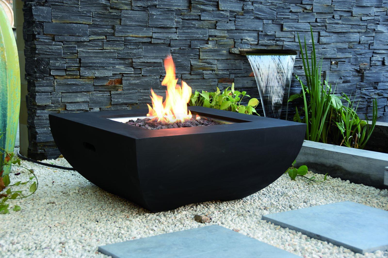 Gas Feuerstelle / Gartenfeuer GardenForma Itasy Beton-Optik schwarz Bild 2