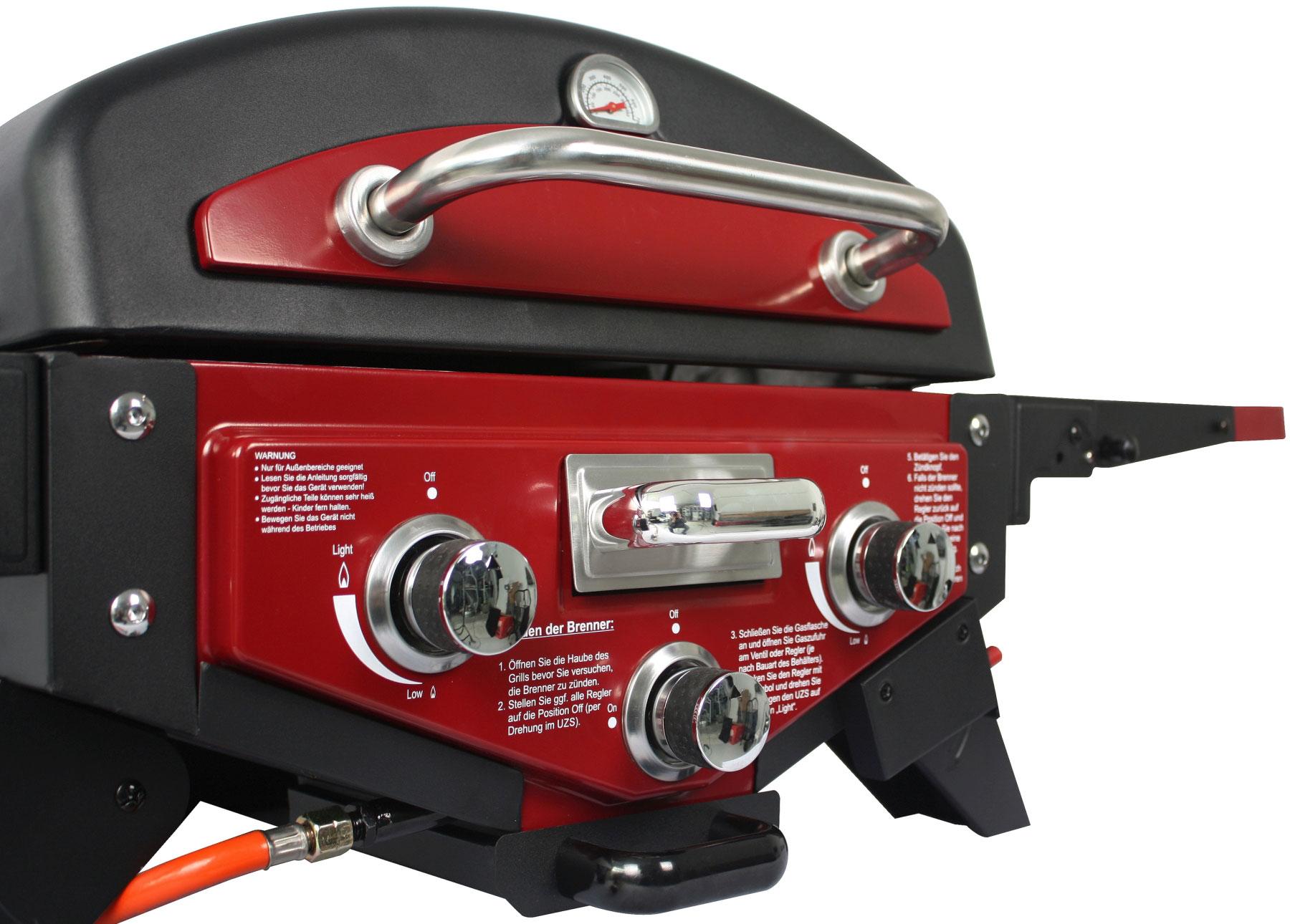 El Fuego Gasgrill / Tischgrill Medison rot Grillfläche 49x33,5cm Bild 5