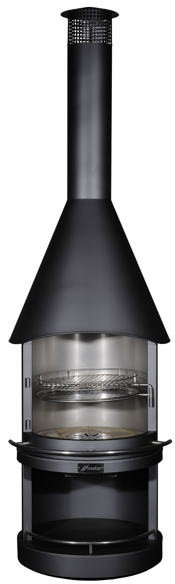 gartenkamin grillkamin firestar edelstahl classic schwarz dn 800 bei. Black Bedroom Furniture Sets. Home Design Ideas