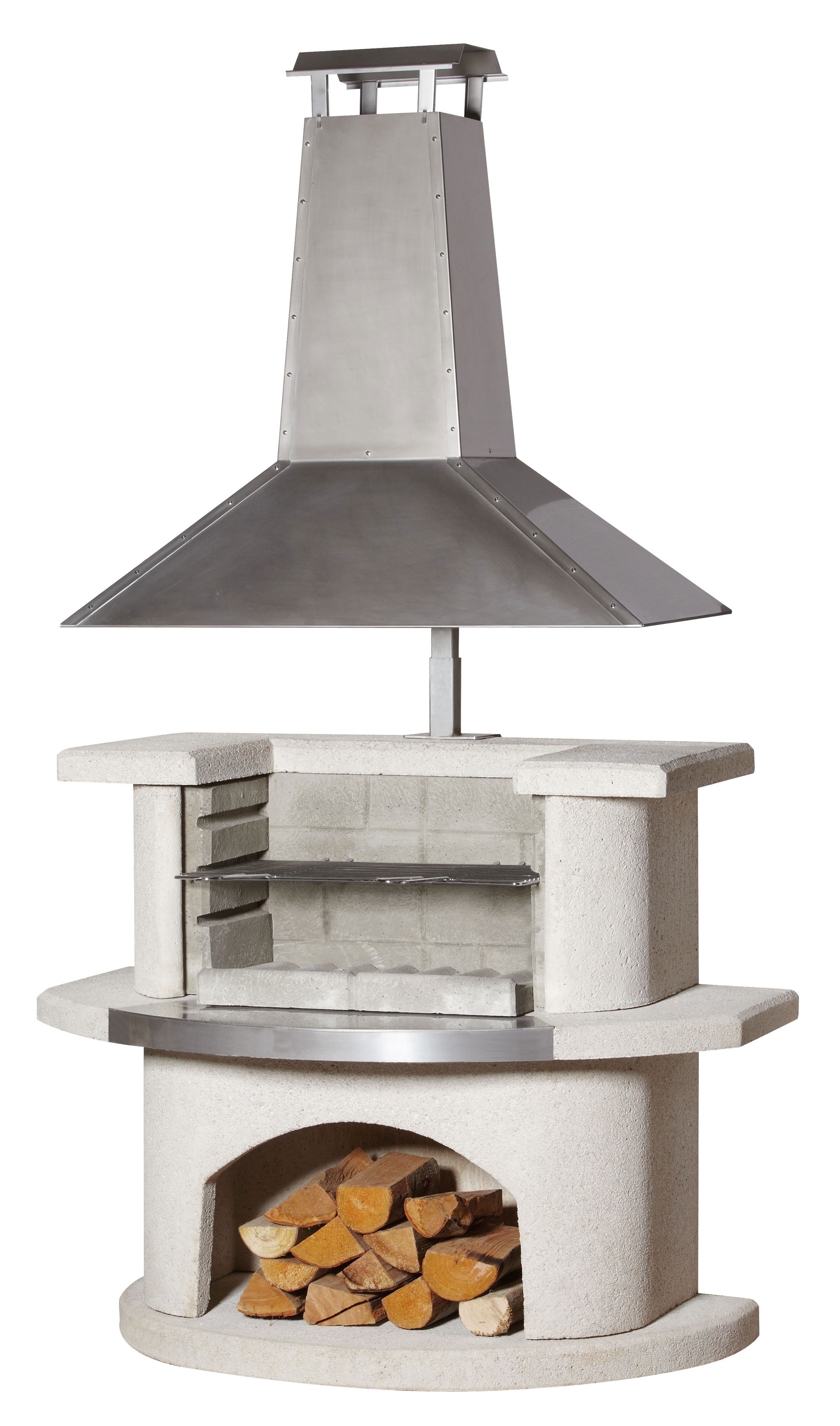 gartenkamin grillkamin buschbeck venedig edelstahl 110x65x197cm bei. Black Bedroom Furniture Sets. Home Design Ideas
