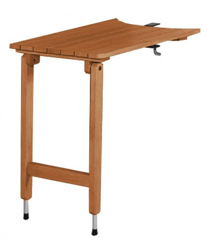 Abstelltisch Wellfire Holz braun 70x45cm für runde Simsplatte Bild 1