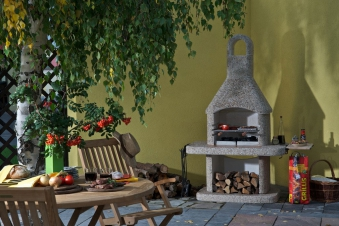 Wellfire Gartenkamin / Grillkamin Siesta braun 185x110x73cm Bild 2