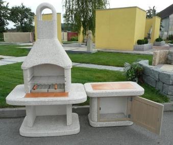 Wellfire Gartenkamin / Grillkamin Siesta weiß mit Tisch und Tür 185cm Bild 2
