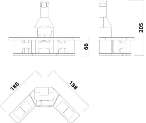 Wellfire Grillkamin / Außenküche Nova Eckversion weiß je 188cm Bild 2