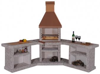 Wellfire Grillkamin / Außenküche Toskana Kupferhaube Eckversion 188cm Bild 1