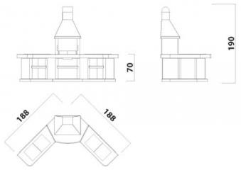 Wellfire Grillkamin / Außenküche Toskana Kupferhaube Eckversion 188cm Bild 3