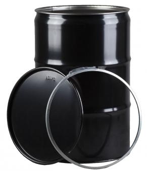 Feuertonne mit Deckel Metall lackiert schwarz 213 Liter Bild 2