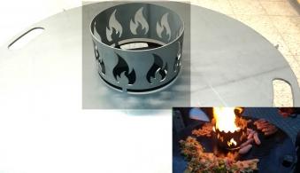 Wokaufsatz für Feuerplatte Ø200 mm Edelstahl