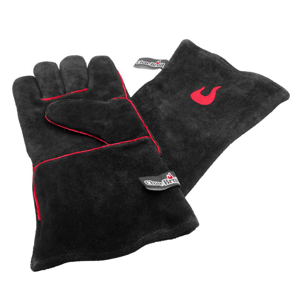 Char-Broil Grillhandschuhe Leder handgestickt schwarz rot Bild 1