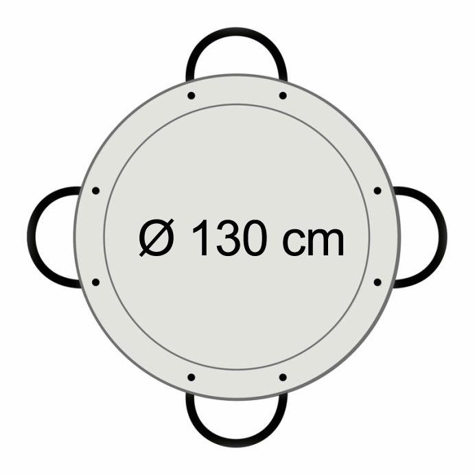 Paella-Pfanne Stahl poliert Ø 130 cm mit 6 Griffen Bild 2