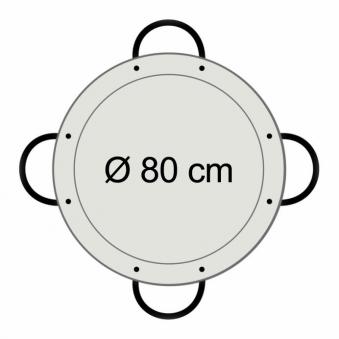 Paella-Pfanne Stahl poliert Ø 80 cm mit 4 Griffen Bild 2