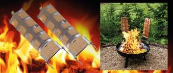 Flammlachsbrett 2 Stück mit Edelstahlhalterung Bild 2