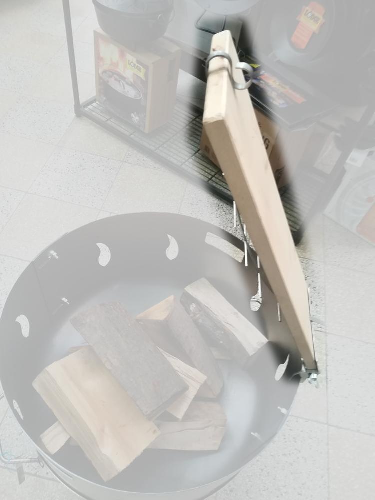 Flammlachsbrett, Lachsbrett Buche 50x14x1,9cm mit Halter Bild 5