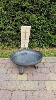 Flammlachsbrett, Lachsbrett Buche 50x14x1,9cm mit Halter Bild 2