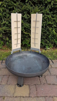 Flammlachsbrett, Lachsbrett Buche 50x14x1,9cm mit Halter Bild 6