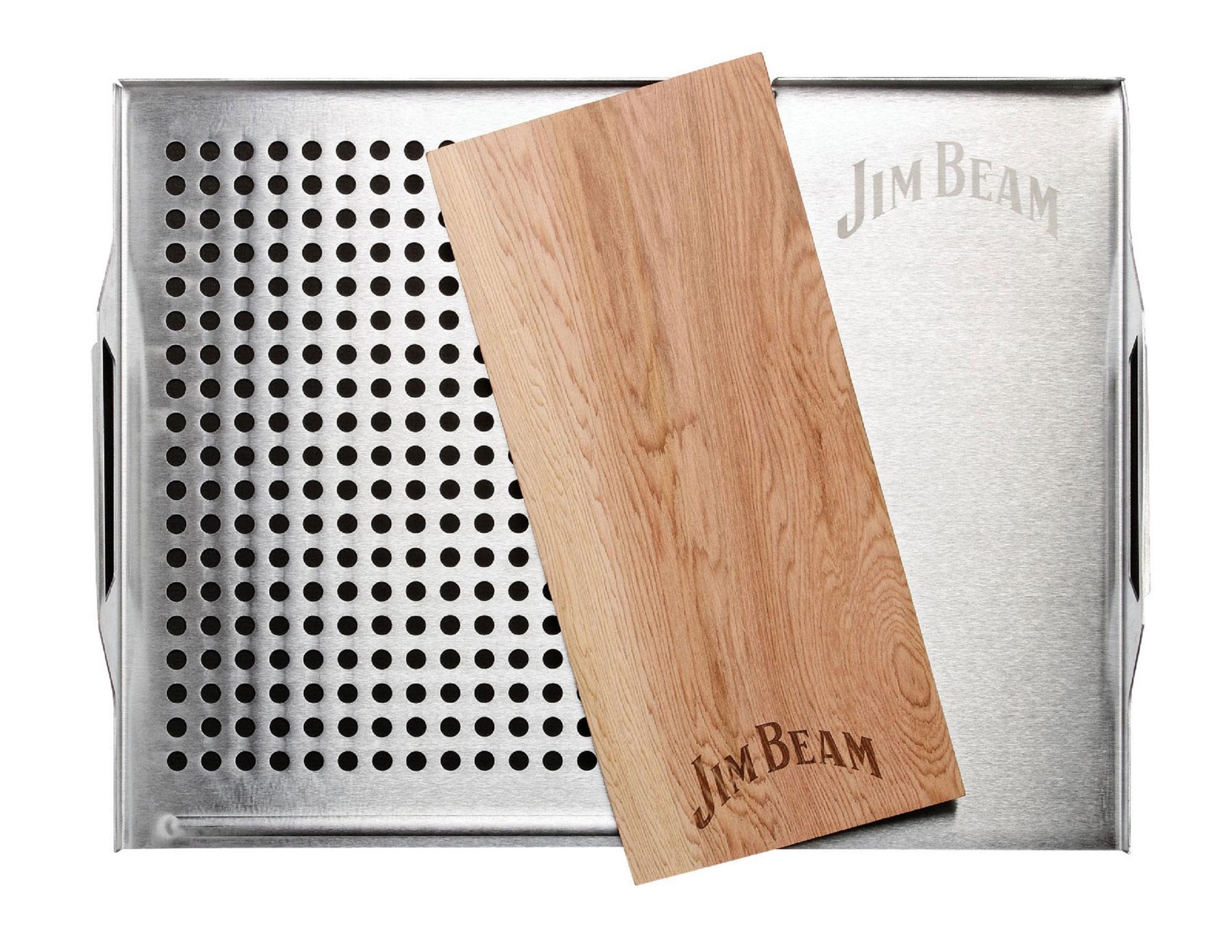 Jim Beam Edelstahl Grillauflage mit Zedernholz-Platte JB0162 Bild 1