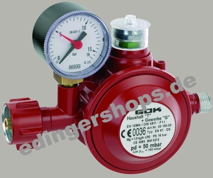 GOK Gasdruckregler / Gasregler für Innen 50mbar 1,5kg/h Bild 1