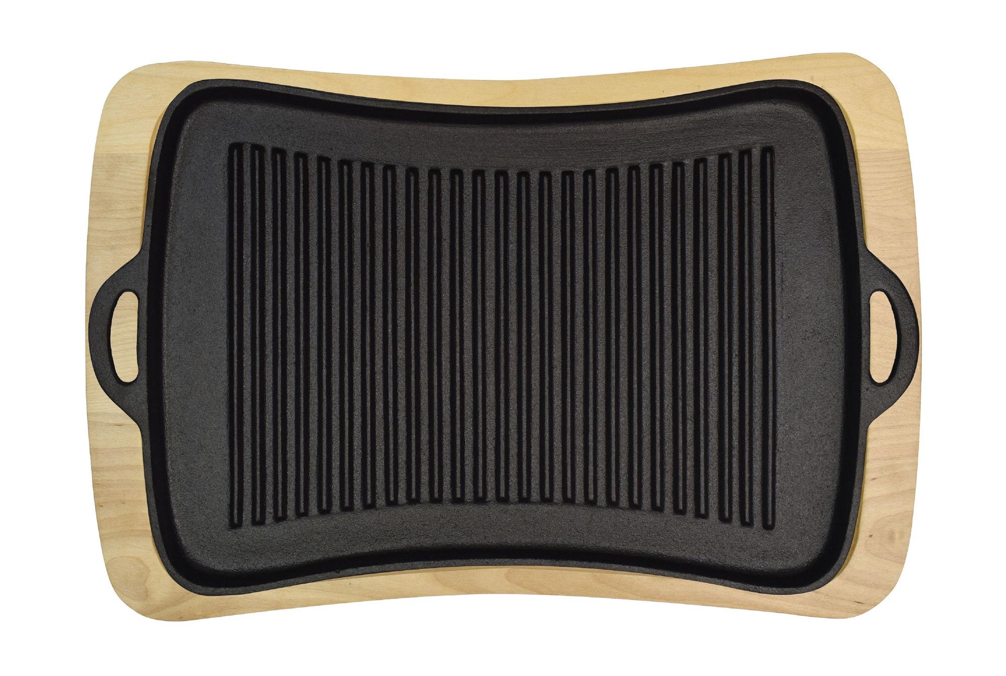 Jim Beam Gusseiserner Grillaufsatz mit Holzuntersetzer JB0206 Bild 1