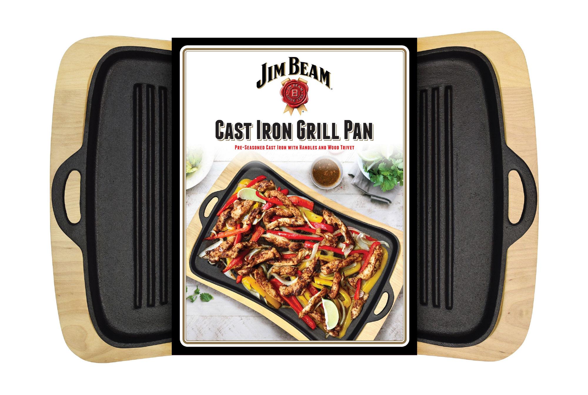 Jim Beam Gusseiserner Grillaufsatz mit Holzuntersetzer JB0206 Bild 3