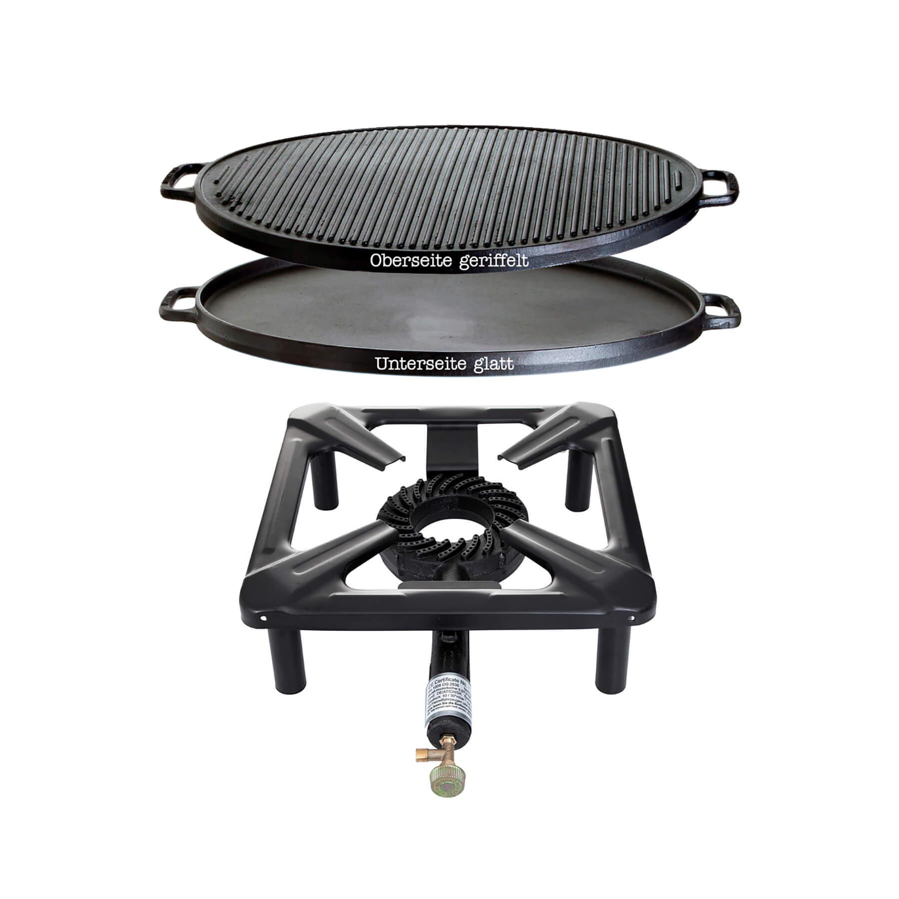 Hockerkocher-Set (groß) mit Gusseisengrillplatte Ø 55 cm - ohne Zündsicherung Bild 1