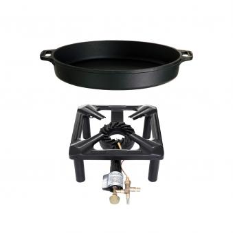 Hockerkocher-Set (groß) mit Gusseisenpfanne Ø 40 cm - mit Zündsicherung Bild 3