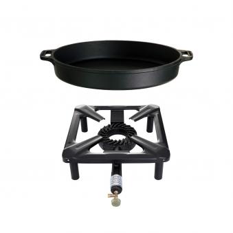 Hockerkocher-Set (groß) mit Gusseisenpfanne  Ø 40 cm - ohne Zündsicherung Bild 1