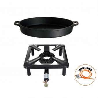 Hockerkocher-Set (klein) mit Gusseisenpfanne  Ø 40 cm inkl. Gasschlauch & Regler Bild 1