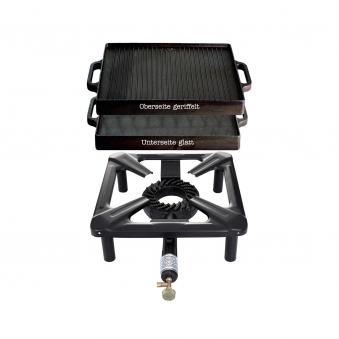 Hockerkocher-Set mit Gusseisengrillplatte 32 x 32 cm Bild 1