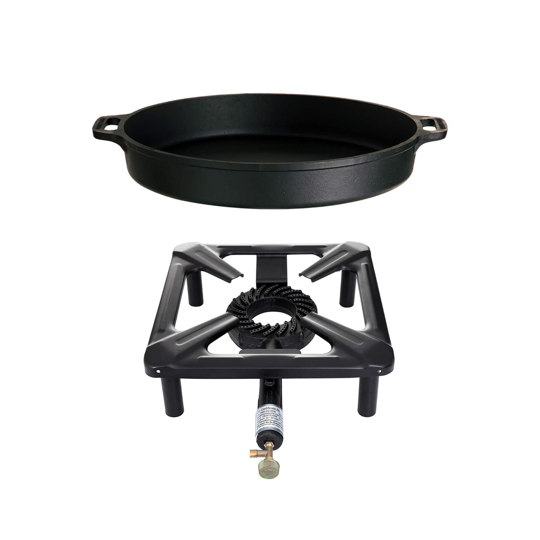 Hockerkocher-Set (groß) mit Gusseisenpfanne Ø 50 cm - ohne Zündsicherung Bild 1
