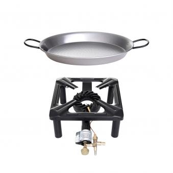 Hockerkocher-Set (klein) mit Paella Pfanne Stahl Ø 32 cm - mit Zündsicherung Bild 4