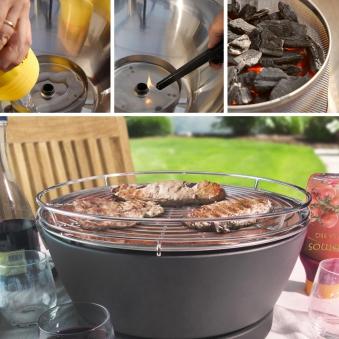 Rauchfreier Grill Feuerdesign Vesuvio Ø33cm anthrazit Set Bild 2
