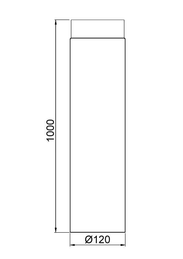 Ofenrohr / Rauchrohr Senotherm schwarz Ø120 mm Länge 1000 mm Bild 1