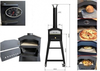 Vulcano V1 Flammkuchenofen, Pizzaofen inkl. Rauchrohr und Untergestell Bild 2