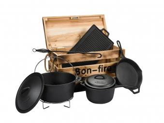 Bon-Fire Gusseisen Topf-Set 6-teilig in Holzkiste Bild 1