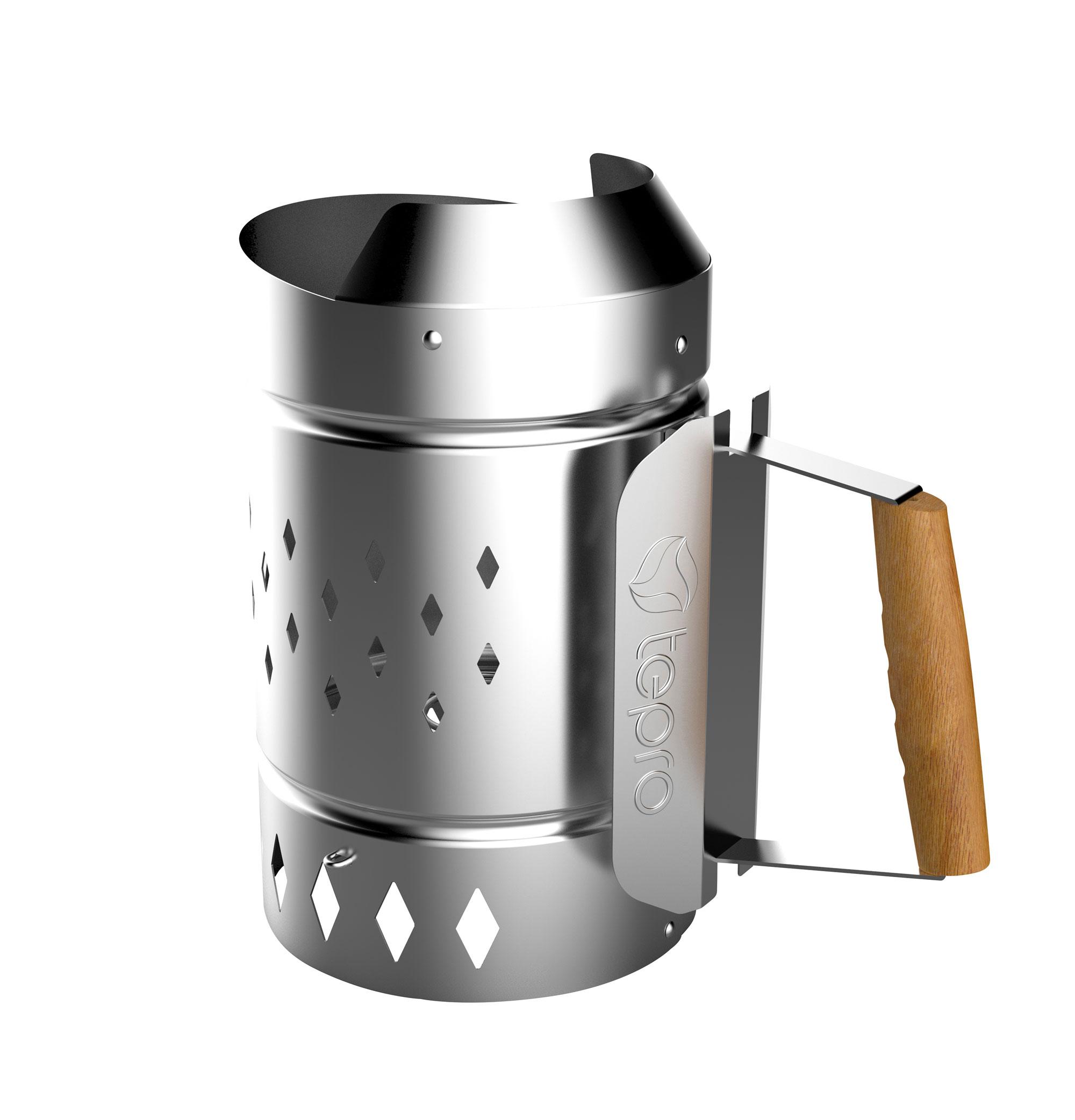Tepro Anzündkamin XL für Holzkohle Stahl silber Bild 1