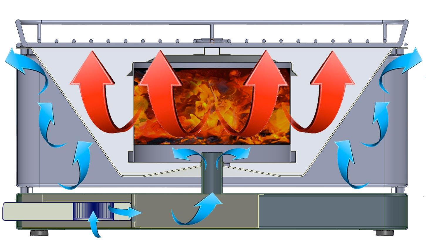 Rauchfreier Grill Feuerdesign Mayon Ø33cm rot Bild 3