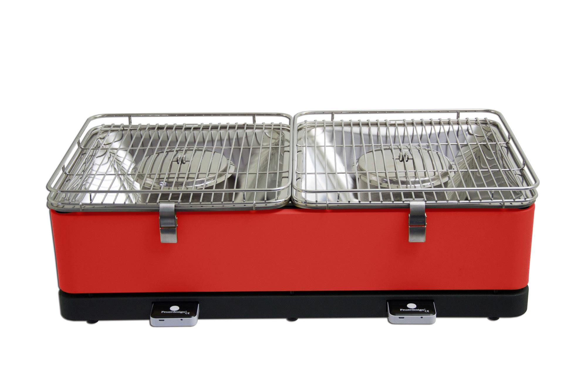 Rauchfreier Grill Feuerdesign Santorin 69x34cm rot Bild 1