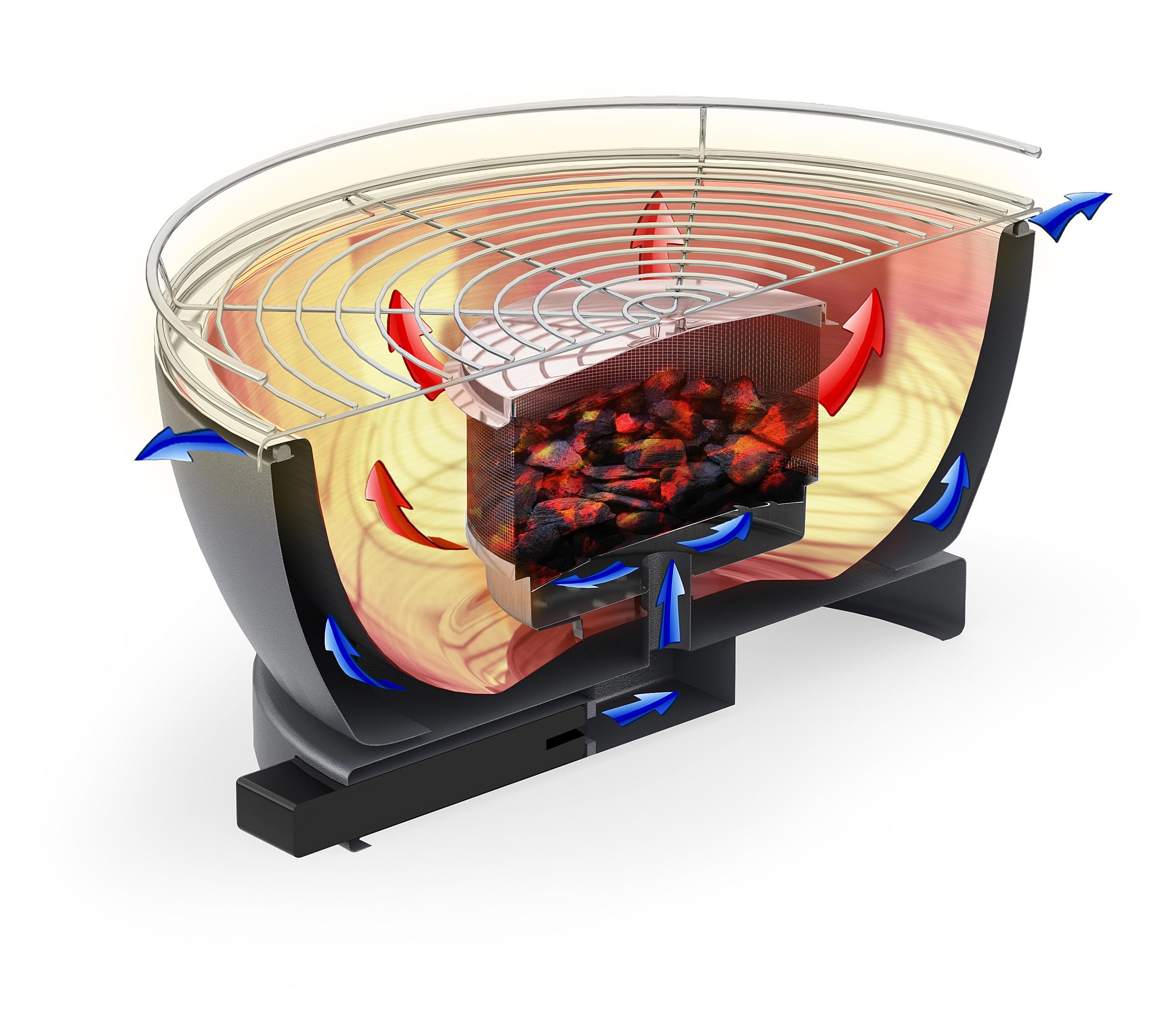Rauchfreier Grill Feuerdesign Teide 34x34cm rot Bild 4