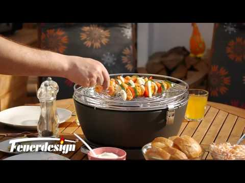 Rauchfreier Grill Feuerdesign Teide 34x34cm rot Video Screenshot 1664