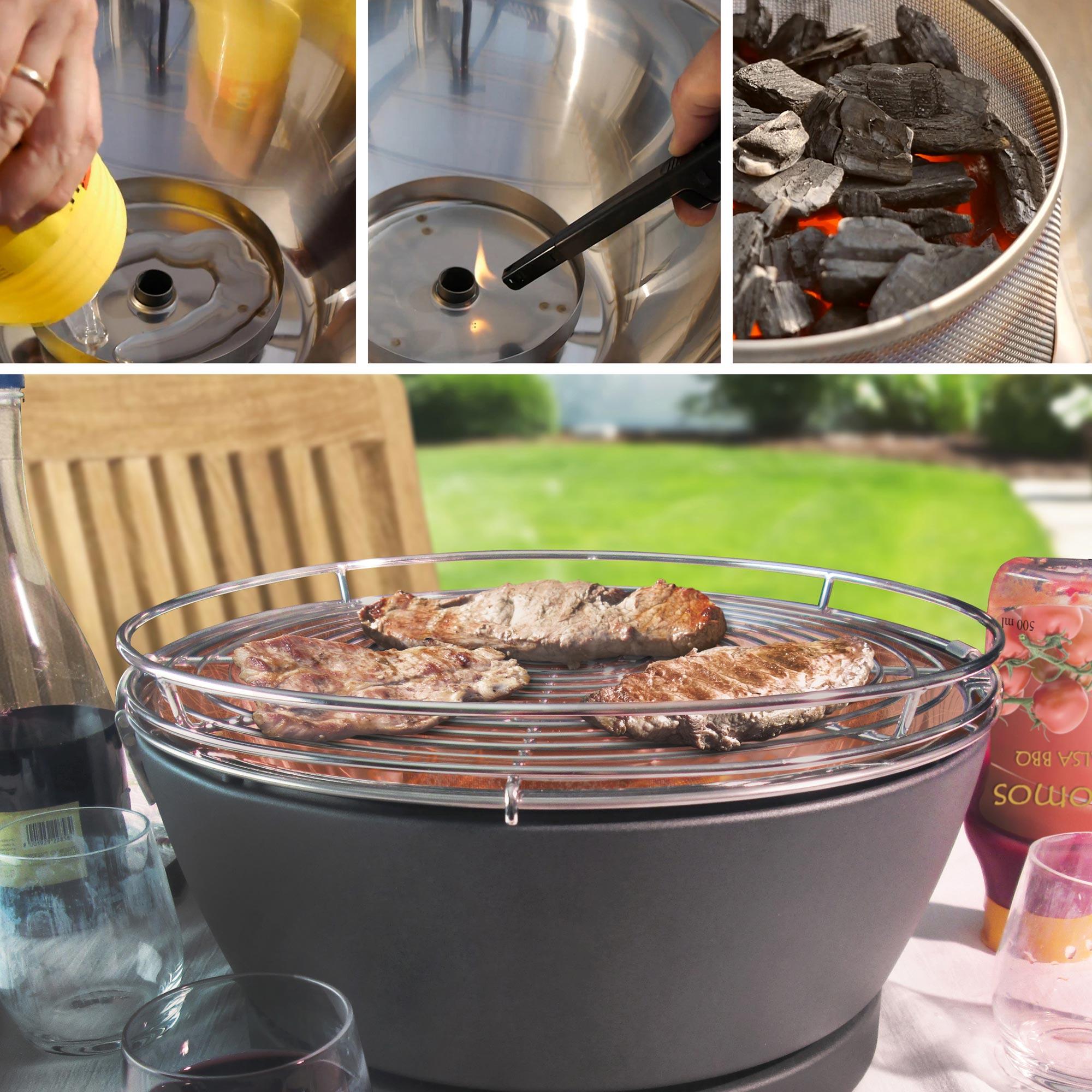 Rauchfreier Grill Feuerdesign Vesuvio Ø33cm weiss Bild 2